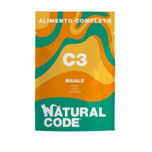 natural code c3 umido completo per gatti maiale e patate dolci